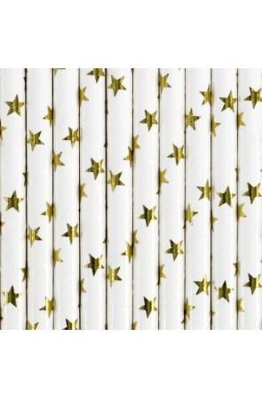 10 pajitas blancas con estrella doradas de papel para nochevieja - Happy New Year Collection