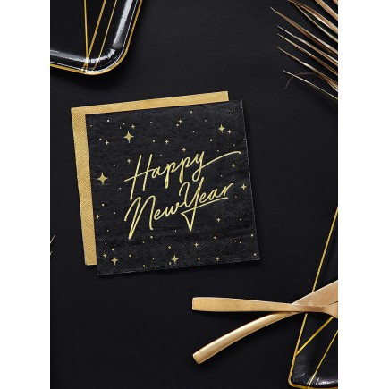 20 servilletas Fin de Año Happy New Year negras y doradas (33 x 33 cm) - New Year's Eve Collection