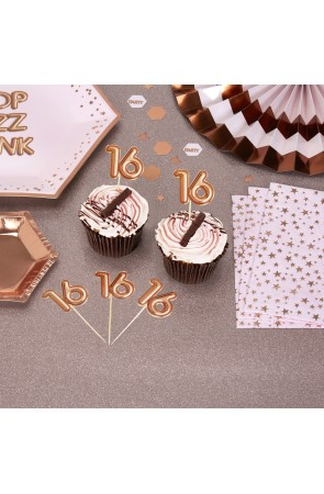 "20 toppers decorativos ""16"" en oro rosa - Glitz & Glamour Pink & Rose Gold"