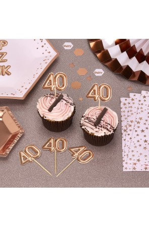 "20 toppers decorativos ""40"" en oro rosa - Glitz & Glamour Pink & Rose Gold"
