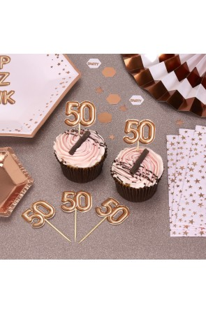 "20 toppers decorativos ""50"" en oro rosa - Glitz & Glamour Pink & Rose Gold"