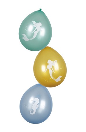 6 globos de látex de sirenas - Mermaid Collection