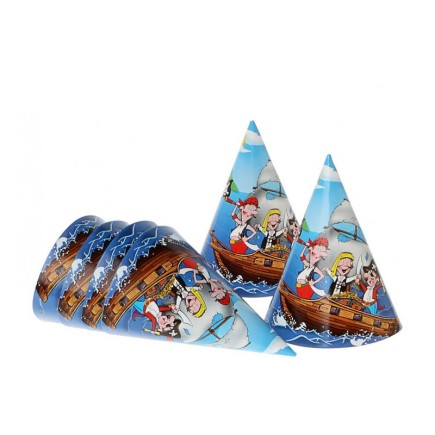 6 Gorros Fiesta Pirata Party 16 cms