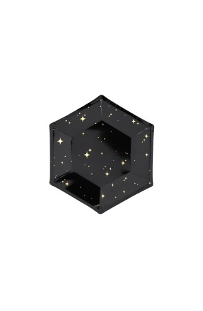 6 platos pentagonales negros con estrellas doradas de papel (20 cm) - New Year's Eve Collection