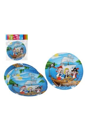 6 Platos Pirata Party 18 cms