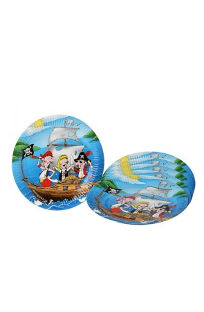 6 Platos Pirata Party 23 cms