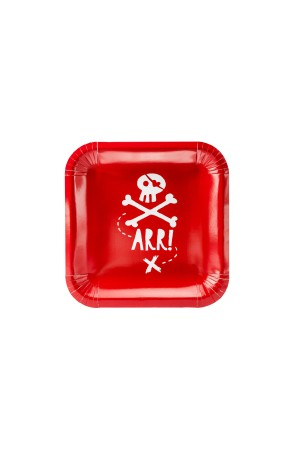 "6 platos rojos cuadrados ""Arr!"" de papel (20 cm) - Pirates Party"