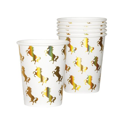 6 vasos de unicornios dorados - Magic Unicorn