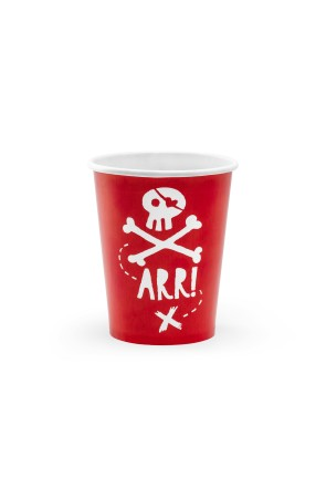 6 vasos rojos de piratas - Pirates Party
