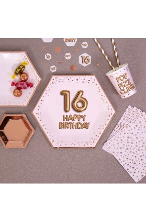 "8 platos hexagonales ""16 Happy Birthday"" de papel (27 cm) - Glitz & Glamour Pink & Rose Gold"