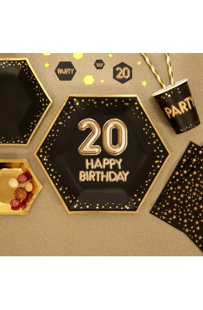 "8 platos hexagonales ""20 Happy Birthday"" de papel (27 cm) - Glitz & Glamour Black & Gold"