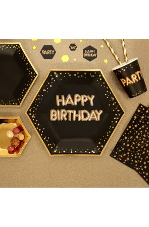 "8 platos hexagonales ""Happy Birthday"" de papel (27 cm) - Glitz & Glamour Black & Gold"