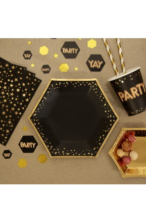 8 platos hexagonales medianos de papel (20 cm) - Glitz & Glamour Black & Gold