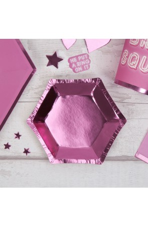 8 platos hexagonales rosas (12,5 cm) - Pink Star
