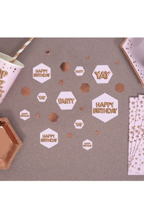 "Confeti para mesa ""Happy Birthday"" - Glitz & Glamour Pink & Rose Gold"