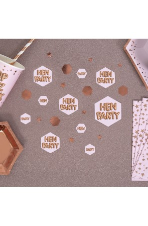 "Confeti para mesa ""Hen Party"" - Glitz & Glamour Pink & Rose Gold"