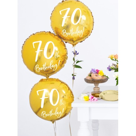 Globo 70 th Birthday dorado (45 cm)