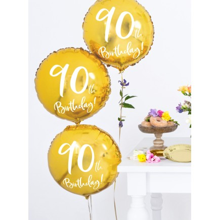 Globo 90 th Birthday dorado (45 cm)