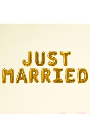 "Globo foil ""Just married"" en dorado - Glitz & Glamour Black & Gold"