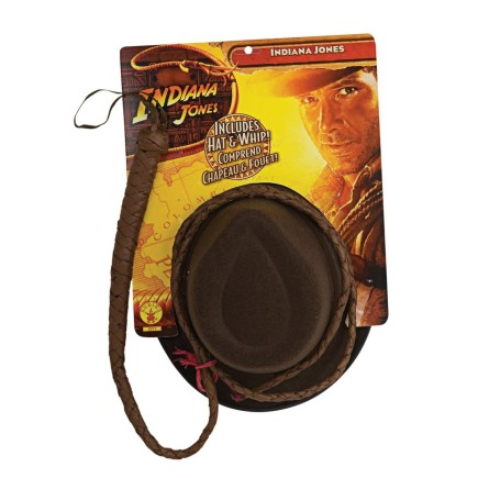 Kit de sombrero y látigo Indiana Jones adulto