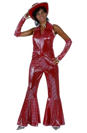 Disfraz adulto Disco Woman Rojo Brillo talla M