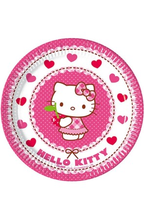 PACK 8 PLATOS 20 CM HELLO KITTY HEARTS