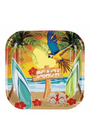 Platos Hawaianos Pack de 6  25 x 25 cms