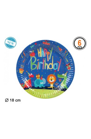 Platos Zoo Party desechables 18 cms 6 uds